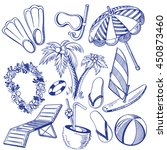 set of sketches on a beach ... | Shutterstock .eps vector #450873460