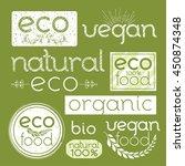 set of green eco labels. hand... | Shutterstock .eps vector #450874348