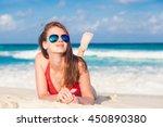 portrait of beautiful woman... | Shutterstock . vector #450890380