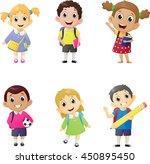 illustration of school kids in... | Shutterstock .eps vector #450895450