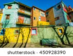 traditional colorful houses on... | Shutterstock . vector #450928390