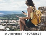hipster young girl with bright... | Shutterstock . vector #450930619