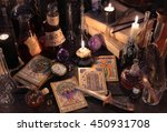 still life with the tarot cards ... | Shutterstock . vector #450931708