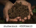 hand holding soil hand dirty... | Shutterstock . vector #450936613