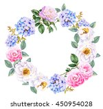 watercolor flowers wreath with... | Shutterstock . vector #450954028