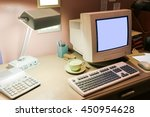 retro interior office desk in... | Shutterstock . vector #450954628