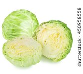 green cabbage isolated on white ... | Shutterstock . vector #450958558