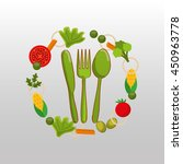 fork and knife  vegetables and... | Shutterstock .eps vector #450963778