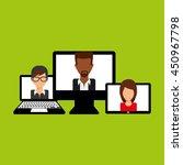 working on computer teamwork... | Shutterstock .eps vector #450967798