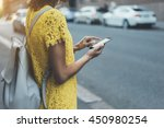 young hipster girl in yellow... | Shutterstock . vector #450980254