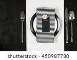 elegant black and white table... | Shutterstock . vector #450987730