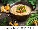 chanterelle cream soup on...   Shutterstock . vector #450989140