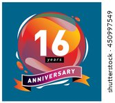 16 years greeting card... | Shutterstock .eps vector #450997549