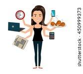 multitasking person cartoon... | Shutterstock .eps vector #450999373