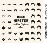 hipster vector set hair and... | Shutterstock .eps vector #450999970