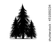 black tree silhouettes  on... | Shutterstock .eps vector #451000234
