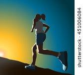 the sportswoman running up the... | Shutterstock .eps vector #451006084
