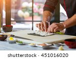 male hands touch rice. white... | Shutterstock . vector #451016020
