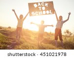 silhouette of happy children... | Shutterstock . vector #451021978