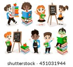 back to school set. pupils read ... | Shutterstock .eps vector #451031944