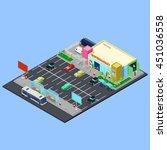 isometric city. supermarket... | Shutterstock .eps vector #451036558