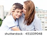 portrait of a mother with her... | Shutterstock . vector #451039048