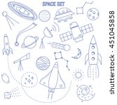 set of space and astronomy thin ... | Shutterstock .eps vector #451045858