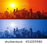 horizontal cityscape with... | Shutterstock .eps vector #451055980