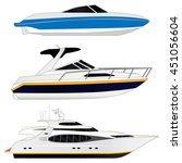 White Luxury Yacht. Set