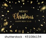 merry christmas card. gold... | Shutterstock .eps vector #451086154
