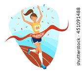 winner girl design concept with ... | Shutterstock .eps vector #451091488