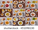 set of business lunch photos on ... | Shutterstock . vector #451098130