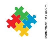 four puzzle colored pieces... | Shutterstock .eps vector #451100974
