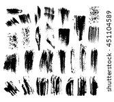 set of grunge dry brush  line ... | Shutterstock .eps vector #451104589