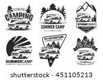 set of monochrome camper van... | Shutterstock .eps vector #451105213