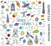 hand drawn doodle space and... | Shutterstock .eps vector #451108600