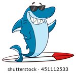 Smiling Blue Shark Cartoon...