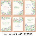 set of flower invitation cards. ... | Shutterstock .eps vector #451122760