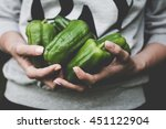 green pepper harvest. farmer... | Shutterstock . vector #451122904