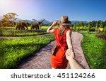 woman in orange dress and hat... | Shutterstock . vector #451124266