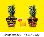 two fun fashion pineapples with ... | Shutterstock . vector #451140139