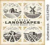 vintage landscapes set | Shutterstock . vector #451143940