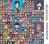 large set of diferent avatars 1 | Shutterstock .eps vector #451153750