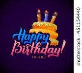 happy birthday calligraphy... | Shutterstock .eps vector #451154440