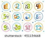 cute birthday stickers with... | Shutterstock .eps vector #451154668