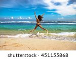 summer happy young woman enjoy... | Shutterstock . vector #451155868
