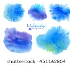 blue watercolor flowing stains... | Shutterstock .eps vector #451162804