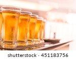 glasses of light beer on a dark ... | Shutterstock . vector #451183756