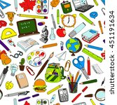 colorful school  pattern.... | Shutterstock .eps vector #451191634