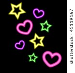 neon style hearts and stars... | Shutterstock .eps vector #45119167